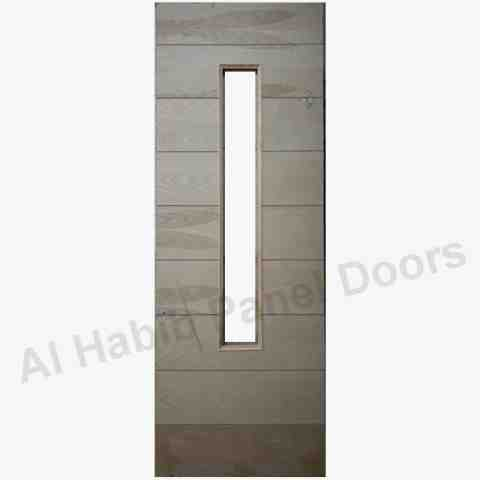Ash Strips Door With Glass Design