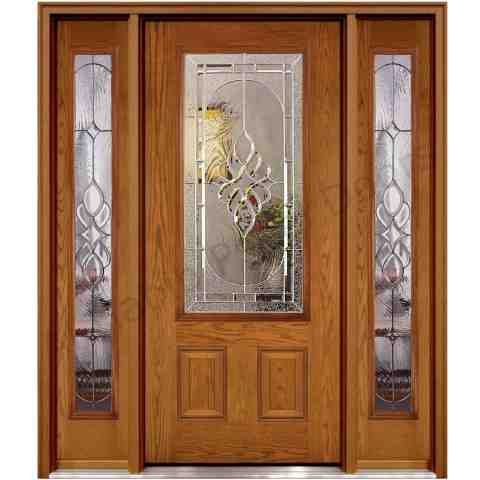 Wooden door with glass and glass sides hpd482 glass for Glass door frame