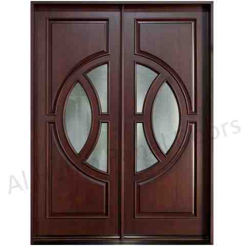 Glass wooden door with frame hpd480 glass panel doors for Latest design for main door