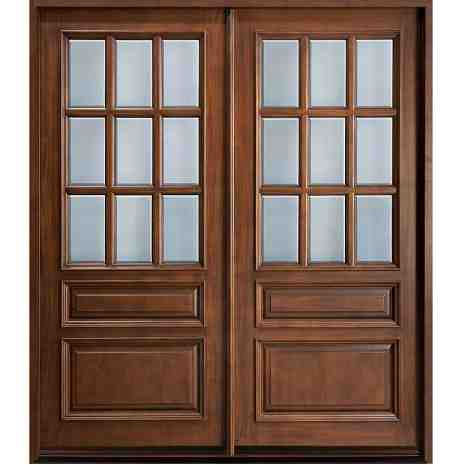 Glass panel double door hpd172 glass panel doors al for Small double front doors