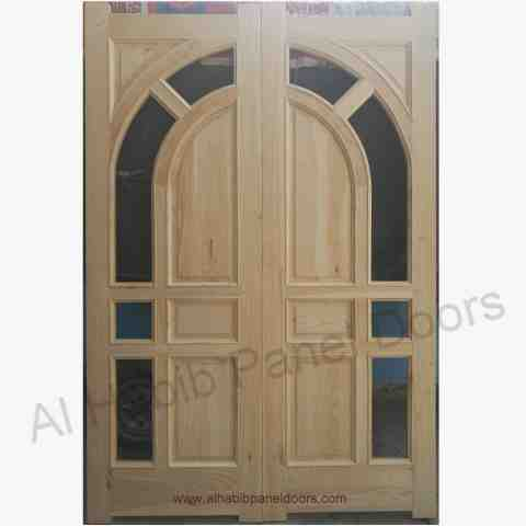 This is Glass Panel Double Door. Code is HPD170. Product of Doors - Wooden Door With Glass, Glass wooden Doors, Door with glass available in different design, custom design, Glass wooden double Doors -  Al Habib