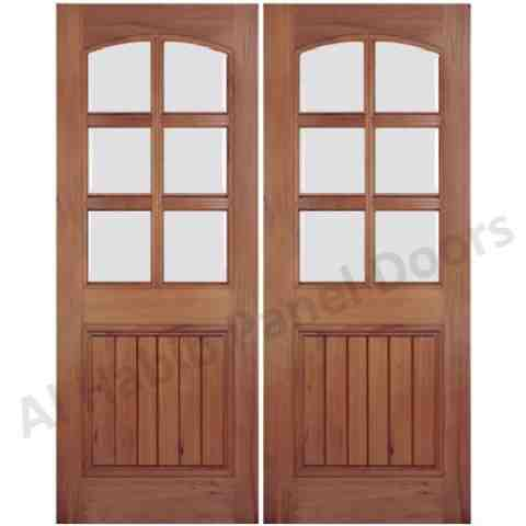 Wood interior door with glass hpd175 glass panel doors for Double door wooden door