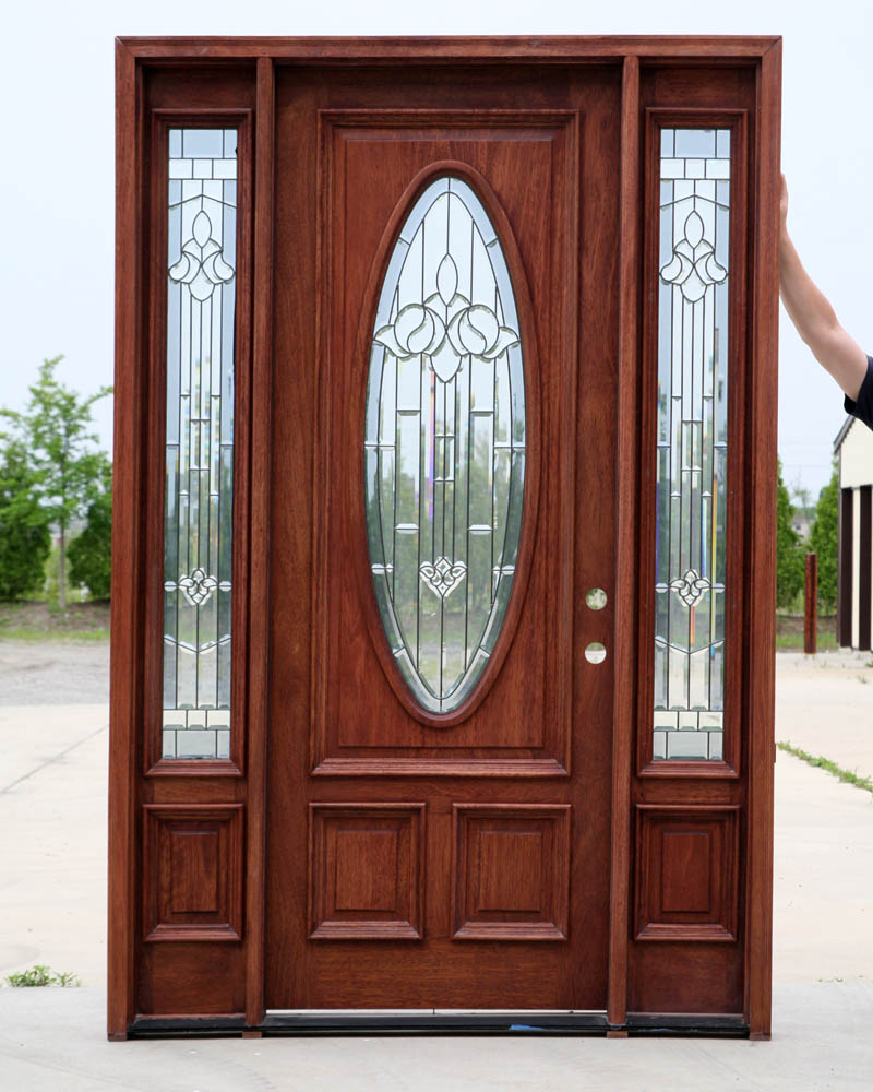 Wooden door with glass and glass sides hpd482 glass for Exterior doors with glass