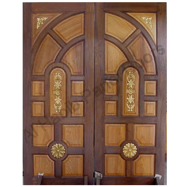 Pakistani kail solid wood double door hpd410 main doors for Front window design in india
