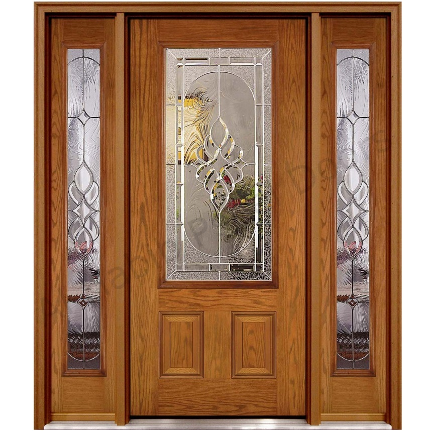 Ash wood glass panel door hpd451 glass panel doors al for Wood and glass front entry doors