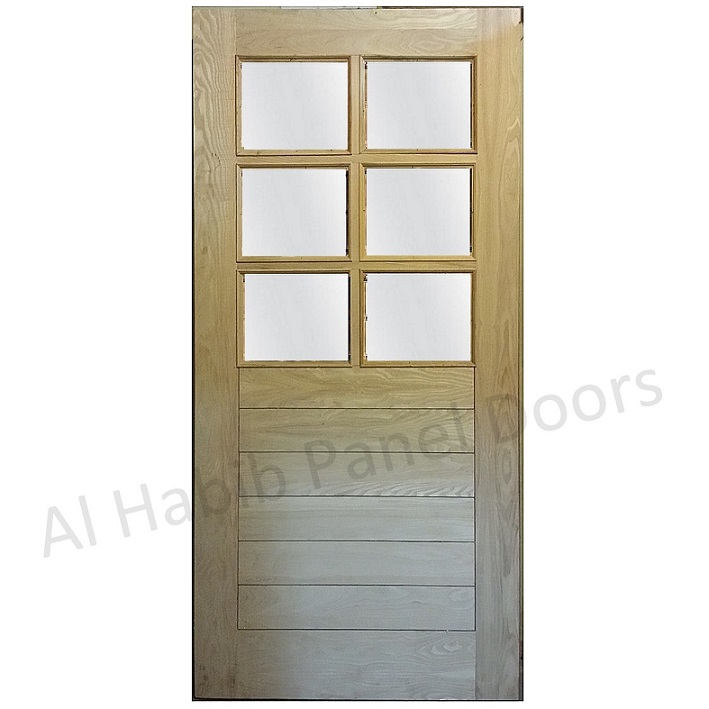 Ash Wood Ply Pasting Glass Door