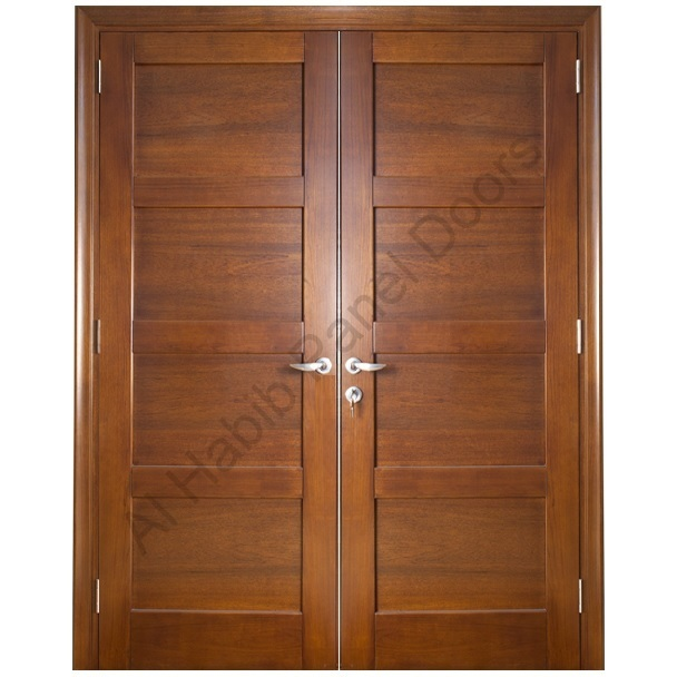 Ash wood solid double door hpd418 main doors al habib for Double door wooden door