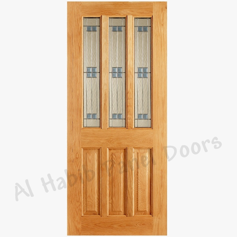 Glass wood door hpd176 glass panel doors al habib for Wood door with glass