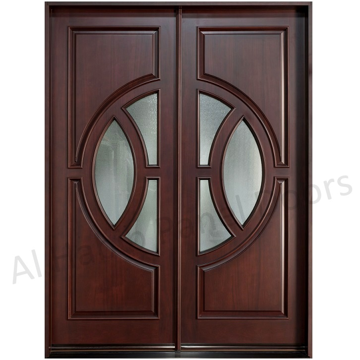 Dayar wooden double door with glass football design hpd534 for Double wood doors with glass