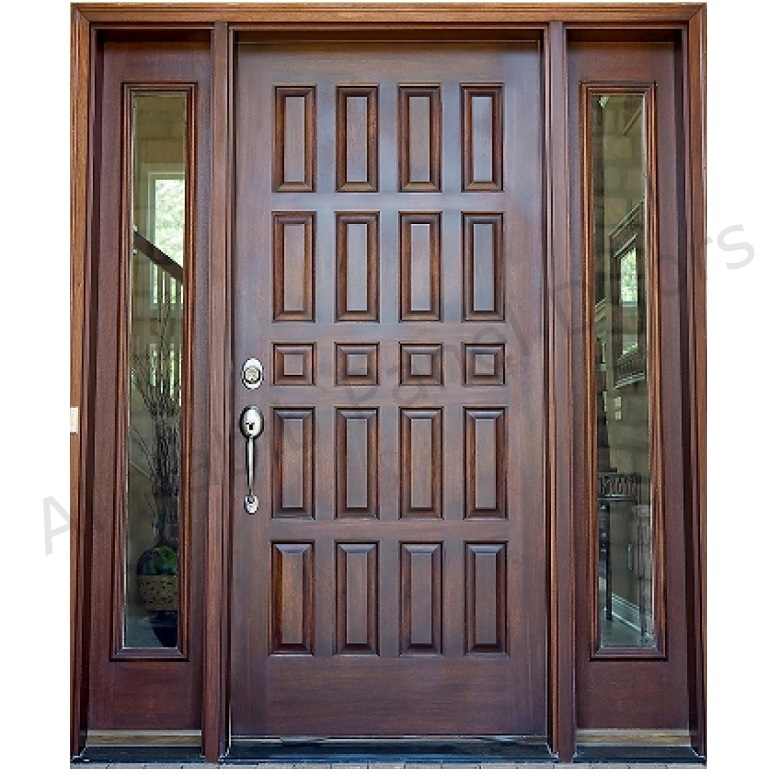 Dayar wooden front door hpd458 solid wood doors al for Small double front doors