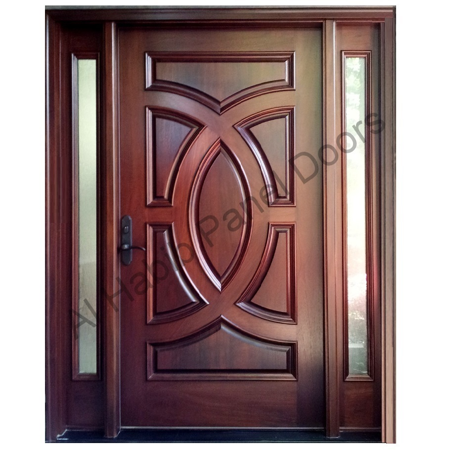 Ash wood door with frame hpd416 solid wood doors al for Wood door design latest