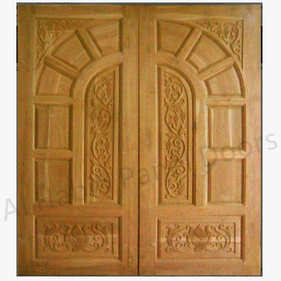 Pakistani kail solid wood double door hpd410 main doors for Main two door designs