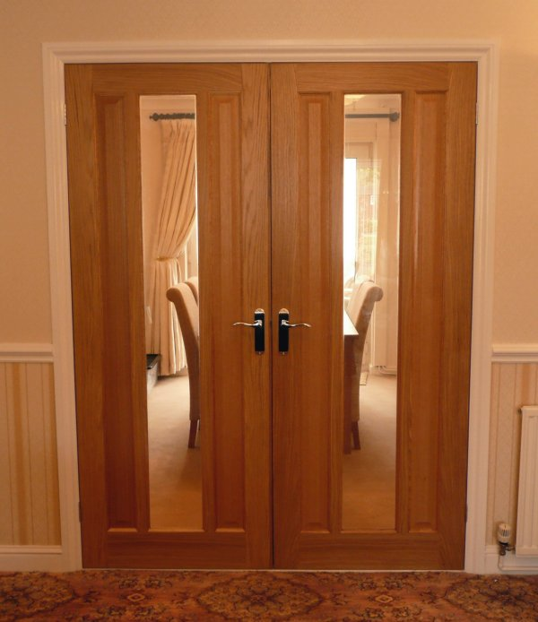 Glass wood door hpd176 glass panel doors al habib for Double wood doors with glass