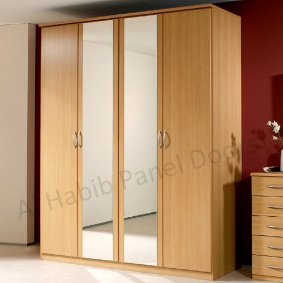 Four doors wardrobe with looking glass hpd517 free for 4 door wardrobe interior designs