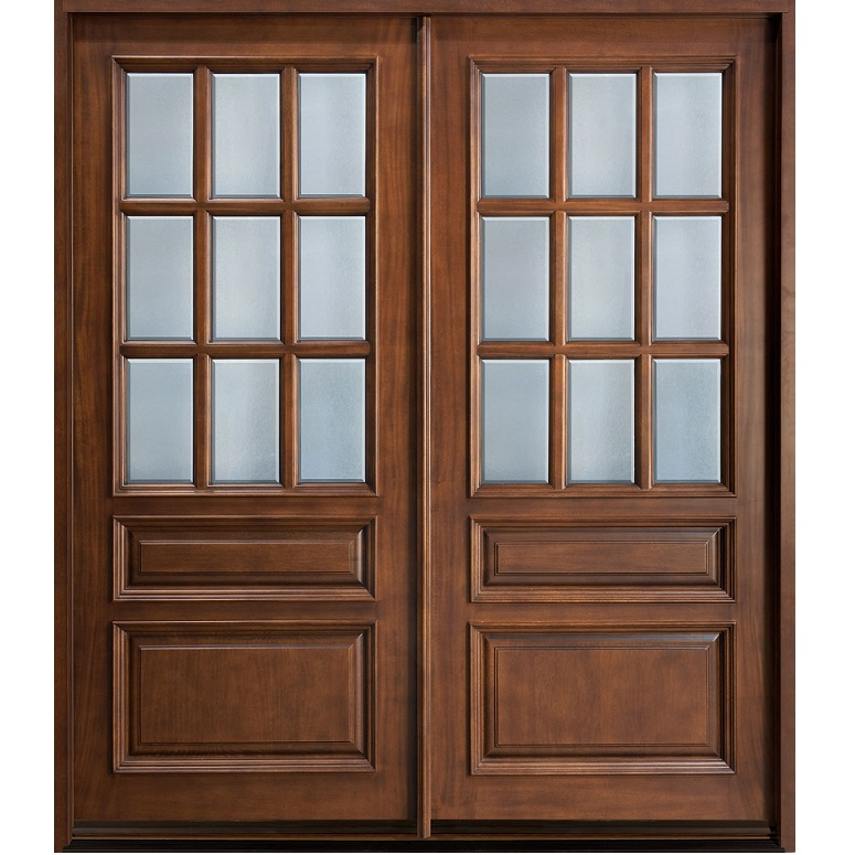 Glass wooden double door hpd478 glass panel doors al for Double wood doors with glass
