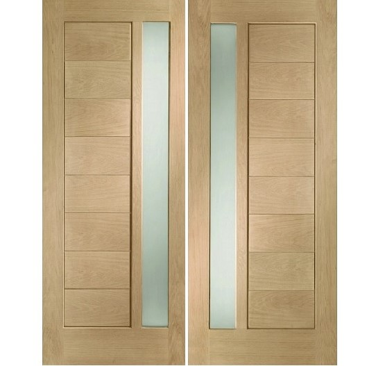 Horizontal Stripes Glass Main Double Door