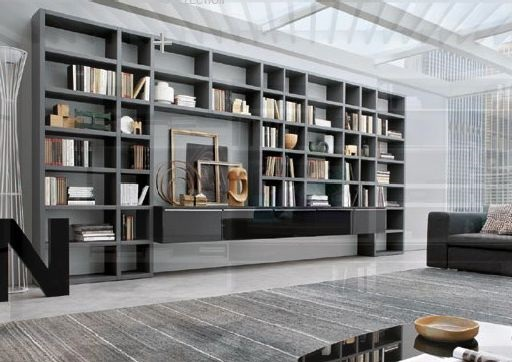 Long Wall Storage Book Shelves