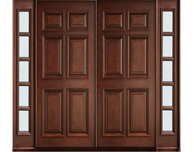 Solid wood main double door hpd413 main doors al habib for Wooden double door designs for main door