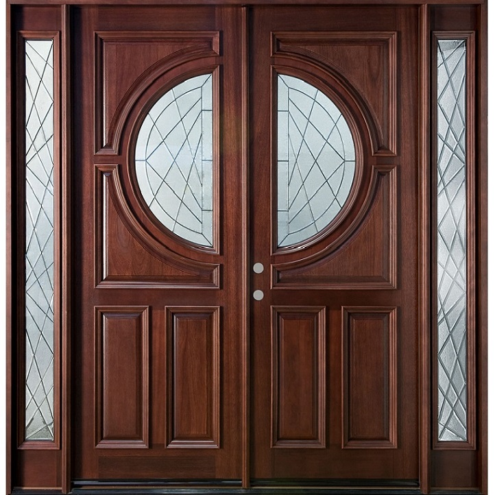 Solid wood main double door hpd110 main doors al habib for Big main door designs