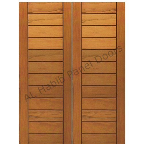 Main double door solid wood hpd402 main doors al habib for Plain main door designs