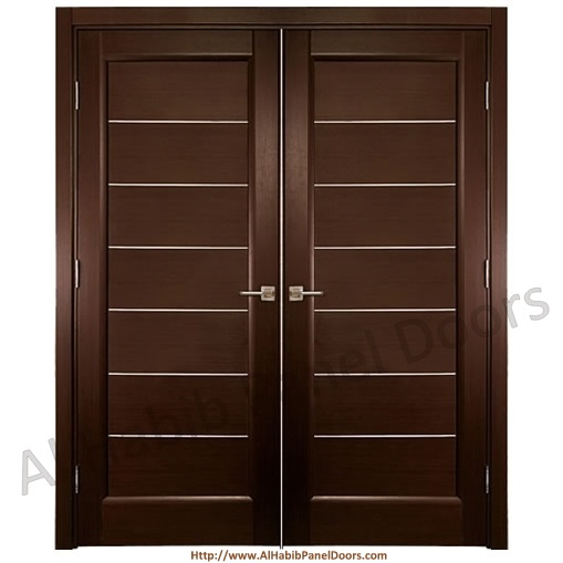 Diyar solid wood main double door hpd412 main doors al for Plain main door designs