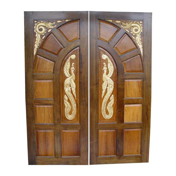 Pakistani kail solid wood double door hpd410 main doors for Wooden main doors design pictures