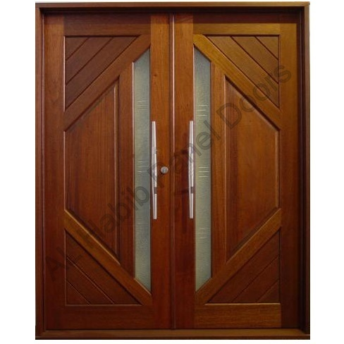 Solid diyar wood double door hpd419 main doors al for Double door wooden door
