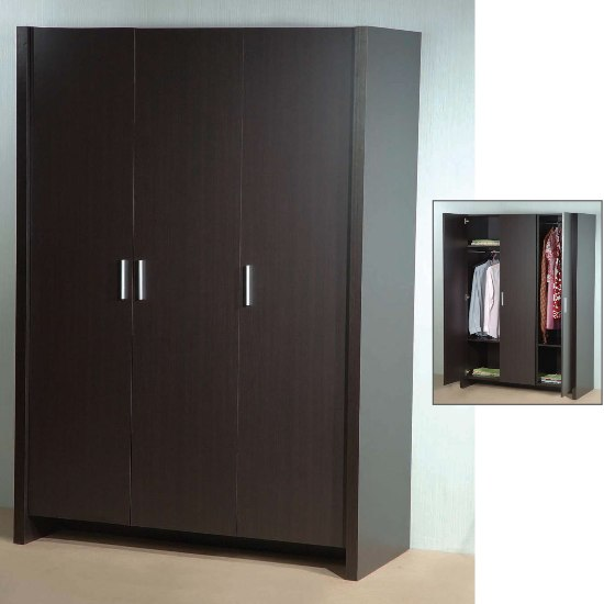 3 doors wardrobe hpd322 free standing wardrobes al for Bedroom wardrobe door designs photos