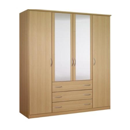 Standing 4 Doors 3 Drawers Wardrobe Hpd440 Free Standing