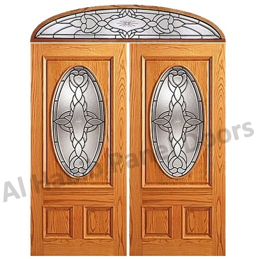 Three Panel Glass Wooden Door