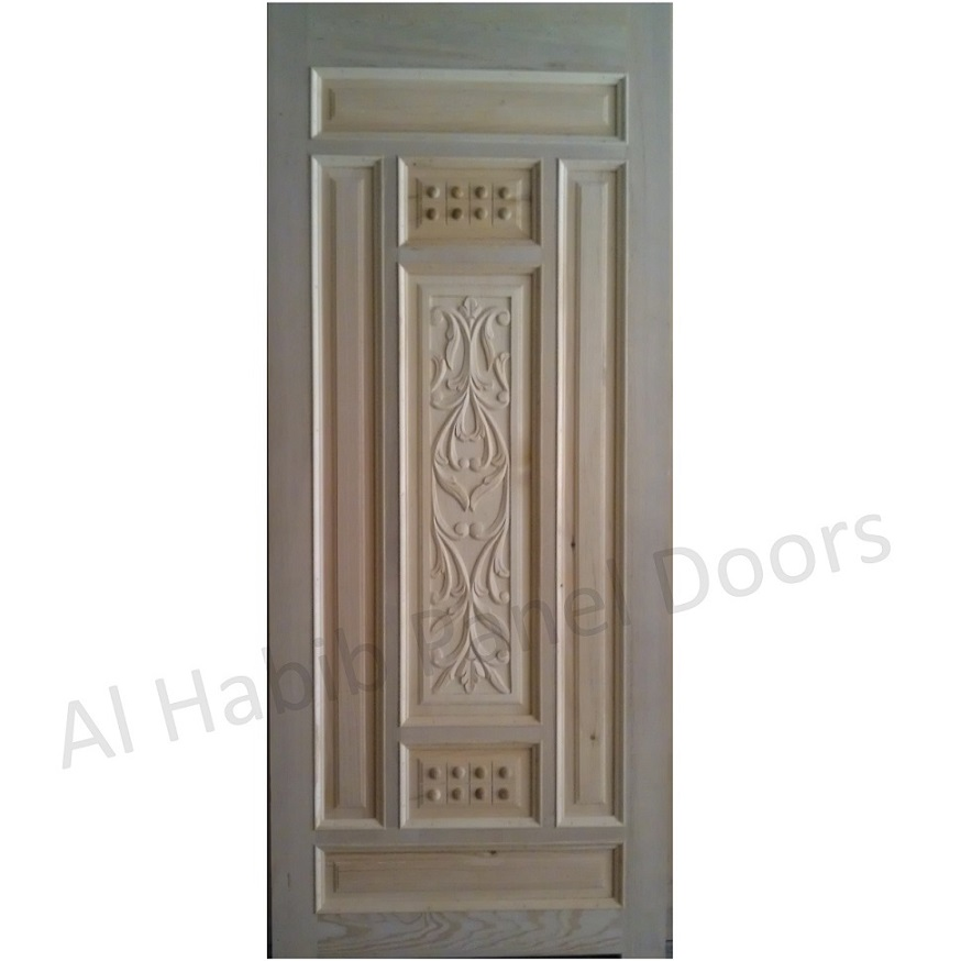 Wooden panel door hpd424 solid wood doors al habib for Simple room door design