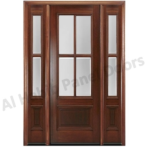 Wooden Door With Glass And Glass Sides