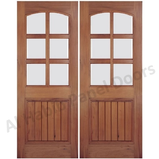 Wooden glass double door hpd477 glass panel doors al for Double wood doors with glass