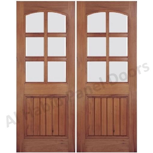 Wooden glass double door hpd477 glass panel doors al for Wooden glass door design