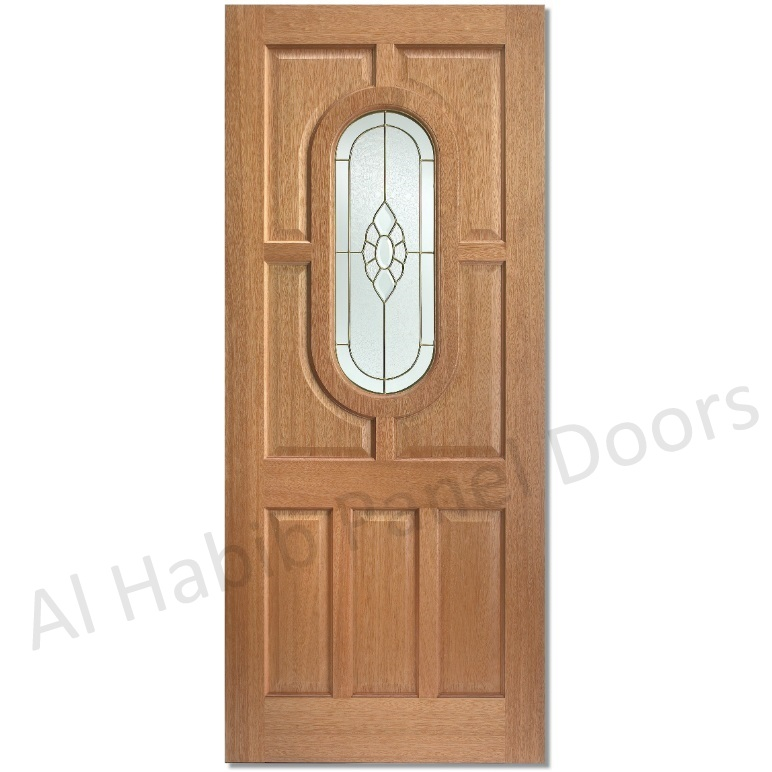 Wooden Panel Door With Glass Hpd533