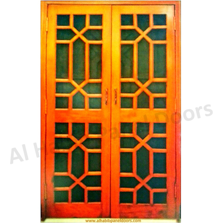 Wooden Wire Mesh Double Door